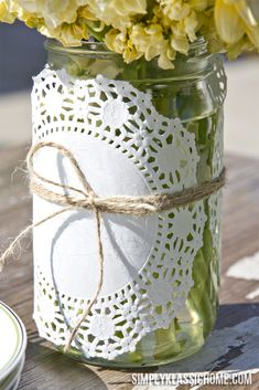 Doily Wrapped Mason Jar Spring Vase - Yellow Bliss Road