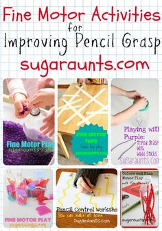 Fine Motor Activities to improve Pencil Grasp and handwriting. Strengthening the small muscles of the hand through play. Great ideas for fine motor/sensory Preschool Fine Motor Skills, Motor Skills Activities, Gross Motor Skills, Preschool Learning, Sensory Activities, In Kindergarten, Toddler Activities, Preschool Activities, Teaching