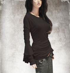 Black blouse top/long sleeve crew/Cascade scrunch by tratgirl55