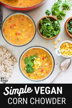 This delicious and creamy Vegan Corn Chowder Recipe is super easy to make and naturally gluten-free. Thickened with potato and natural corn starch and made creamy with coconut milk, this dairy free corn chowder is tasty and healthy. #vegan #soup #recipe #chowder #corn #cornchowder #vegetarian Vegetarian Comfort Food, Tasty Vegetarian Recipes, Vegan Soups, Healthy Recipes, Vegan Corn Chowder, Freezer Friendly Meals, Dairy Free, Gluten Free, Chowder Recipe