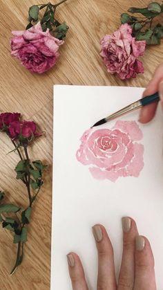 Watercolor Flowers Tutorial, Watercolor Rose, Simple Watercolor, Watercolor Tutorials, Flower Drawing Tutorials, Watercolor Pencils, Watercolors, Watercolor Art Lessons, Watercolor Paintings For Beginners