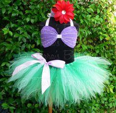 Custom Sewn 8 Infant Toddler Pixie Tutu Ariel Costume - sizes Newborn up to 12 months - tutu, seashell top, and flower headband - Halloween via Etsy
