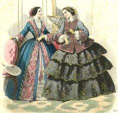 1850s Old Print Victorian High Fashion Robe Dress Crinoline Lady Civil War Era | eBay