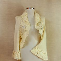 Ivory Crochet Shrug, Knit Bolero, Bridal Shrug, Crochet Bolero ...