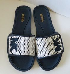 37a8b63ee7017 Michael Kors Slide Lasered Mini MK Logo PVC Sandals White Navy Size 8M   MichaelKors