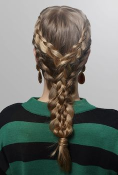 Khaleesi Braid Start with two inside-out French braids, only adding hair on the side nearest the part; bring these together in one main braid. Use your fingers to loosen it up. Then, with the remaining hair, create an inside-out braid on each bottom side, weaving into the middle piece as you go along.