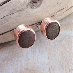 Silver and Copper Beach Stone Studs Copper Beach, Boho Designs, Beach Stones, Studs, Stud Earrings, Jewels, Jewellery, Crystals, Silver
