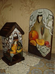 """Купить Кухонный набор"""" Для души"""" - коричневый, кружево ришелье, чайный домик в подарок"""