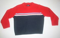 Duck Head Pullover Crew Neck Sweater Size 4 Long Sleeve Red White Navy Blue  #DuckHead #KidStyle #DressyHoliday