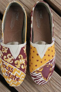 Personalized Toms... Texas State College shoes. by normanfiveart, $90.00