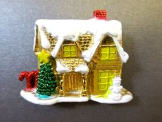 Christmas House Brooch Gold Tone Snowy Roof Holiday Season Brooch Enamel Gold Tone Winter Pin   Dimensional brooch w/ raised  Details and