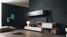 Disegno Wall Unit III by Sangiacomo, Italy in matt ferro and bianco lacquer.…