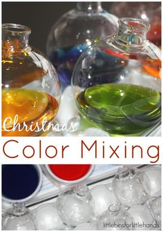 color mixing christmas ornaments primary and secondary color learning
