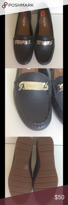 Coach navy leather loafers Brand new, never worn. Navy leather with silver link chain. Coach Shoes Flats & Loafers