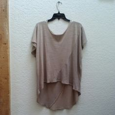 *HP!* Bar III Beige Oversized Hi-Lo Top *9/14/15 Summer to Fall Fashion Party Host Pick!* Brand is Bar III from Macy's. Size on tag is x-small but it's VERY oversized. I'm a medium and this is long and flowy on me. The fabric is half t-shirt material and half sweater material. Color is beige/tan. The neckline is frayed and meant to be and its in great condition! Please ask any and all questions before purchasing. Thanks! Bar III Tops