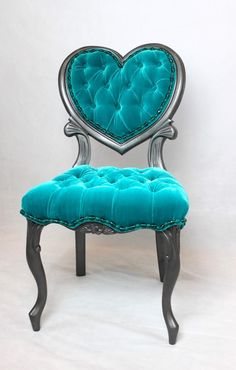 Turquoise Velvet Tufted and Grey Hammered Finish French [Chair]. Cute Furniture, Luxury Furniture, Furniture Decor, Painted Furniture, Turquoise Furniture, Turquoise Chair, Cafe Chairs, Aesthetic Room Decor, Dream Decor