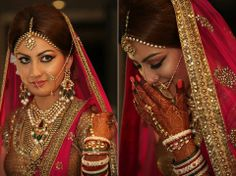 Beautiful bride on her big day. Feel like a traditional red tikka could've been the icing on the cake!