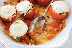Kijk wat een lekker recept ik heb gevonden op Allerhande! Gevulde tomaten met geitenkaas