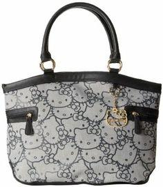 Hello Kitty Aov Print Jaquard SANTB0956 Top Tote Designer Handbags On Sale, Kawaii, Blue Grey, Hello Kitty, Michael Kors, Pattern, Top, Stuff To Buy, Kawaii Cute