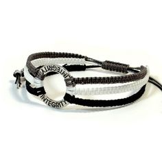 Macrame Knots Bracelets | Macrame square knot bracelet with engraved washer word Integrity 294 ...