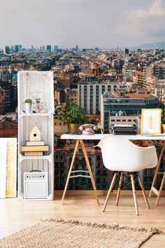 Bring the beautiful view of Barcelona to your own home with the barcelona Cityscape wall mural. This mural can open up any space with its unique look!