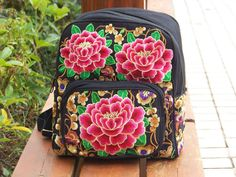 Womens Backpack Chinese Style handbags Retro embroidery floral Red peony bags #Unbranded #Backpack