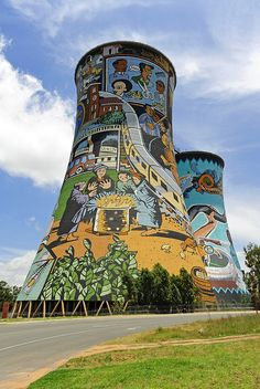 Soweto is home to two Nobel Peace Prize winners. Cooling towers near Johannesburg, South Africa. Street Art, Africa Destinations, Holiday Destinations, Out Of Africa, South Africa Art, Photos Voyages, Water Tower, Africa Travel, Best Cities