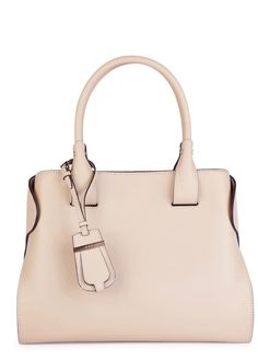 b99e2929c9 Tod's sand leather tote Two top handles, designer stamp, magnetic fastening  folded sides,
