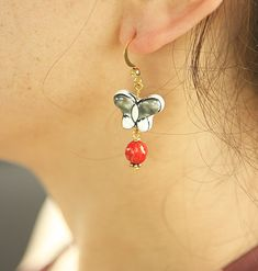 Black & Red  Porcelain Butterfly Gold Plated by JamiesQuilting, $16.00
