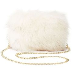 Charlotte Russe Faux Fur Crossbody Bag (226.560 IDR) ❤ liked on Polyvore featuring bags, handbags, shoulder bags, white, white handbags, shoulder strap bags, cross body strap purse, white crossbody purse and zip purse