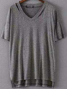 T-shirt col v trapèze creux - Gris 8.54