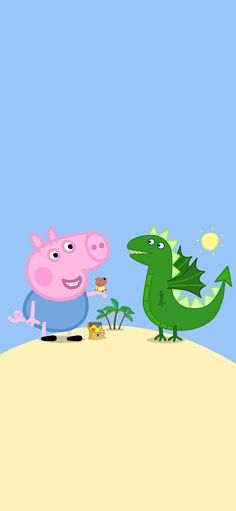 Cartoon of piggy admire strange animation is lovely blue is dinosaurian Wallpapers for iPhone X, iPhone XS and iPhone XS Max - Free Wallpaper | Download Free Wallpapers