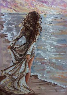 Paintings For Sale, Original Paintings, Pinturas Art Deco, Oil Painting On Canvas, Canvas Art, Woman Painting, Romantic Artwork, Mystique, Lovers Art
