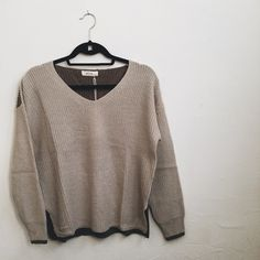 Two tone sweater Available in 2 sizes: S/M and M/L. Comment your size and I will make you a separate listing!  BLVD Sweaters V-Necks