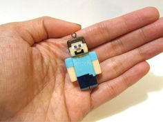 Minecraft Player Steve Chibi Charm. Polymer Clay by Hearts2Charm