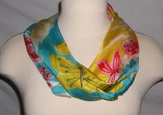 "Vintage Vera Neumann Infinity Scarf Butterflies by JensBarn Light as a feather silk, 28"" around."