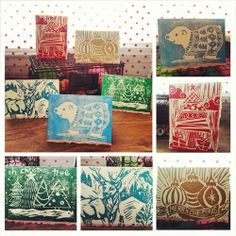 Hand-Printed Holiday Greeting Cards- 5 pack, $8.00