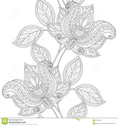 Vector Seamless Monochrome Floral Pattern Stock Vector - Image: 67865728