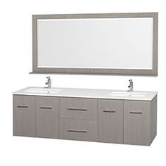 """72"""" Centra Double Bathroom Vanity Set by Wyndham Collection - Gray Oak"""