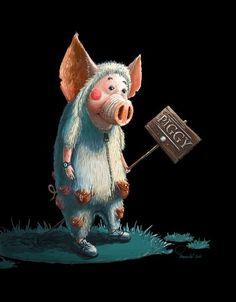 Свинки Farm Paintings, Animal Paintings, Christmas Post, Christmas Humor, Farm Animals, Cute Animals, Funny Garden Gnomes, Tout Rose, Pig Drawing