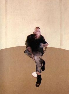 Francis Bacon's Study for a Self-Portrait—Triptych, 1985–86. Bacon (1909–1992) was an Irish-born British figurative painter known for his bold, graphic & emotionally raw imagery. His painterly but abstracted figures typically appear isolated in glass or steel geometrical cages set against flat, nondescript backgrounds. Bacon began painting during his early 20s & worked only sporadically until his mid-30s. Unsure of his ability as a painter, he drifted & earned his living as an interior…