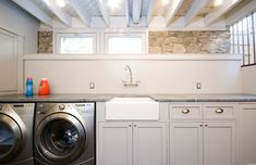 Laundry Room Ideas, Washing in The Basement isn't Too Horrible Great way to finish basement laundry and leave the low ceiling exposed.Great way to finish basement laundry and leave the low ceiling exposed. Laundry Room Remodel, Laundry Room Storage, Laundry Room Design, Laundry Rooms, Laundry Area, Bathroom Laundry, Basement Storage, Small Laundry, Basement Bedrooms