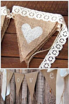 Bricolaje con arpillera o tela de saco - Bodamás Bricolaje con arpillera o tela de saco - Bodamás. Diy Arts And Crafts, Diy Crafts, Make Bunting, Paper Stars, Origami Art, Handmade Home Decor, Pink And Gold, Burlap, Valentines