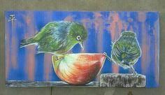 """""""La manzana de la discordia"""", técnica mixta s/tela. 20x40cm. 2013."""