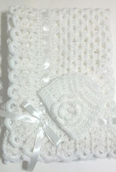 Crochet White Christening Baptism Baby Blanket Set with | Etsy Crochet Skirt Pattern, Crochet Blanket Patterns, Baby Blanket Crochet, Basic Crochet Stitches, Hand Crochet, Layette Pattern, Baby Afghans, Baby Blankets, Baby Shawl