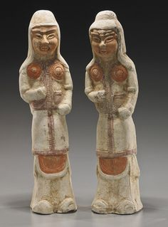 """Two Early Chinese Painted Pottery Warriors, Two Tall Sui/early Tang Dynasty painted pottery tomb figures of warriors; each standing in armor with some slip and polychromed decorations (usual wear); H: 14"""" (each)"""