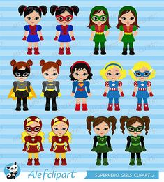 OFF SALE Clipart Supergirls Superhero Clipart by Alefclipart Superhero Clipart, Girl Superhero Party, Simple Collage, Felt Finger Puppets, Puppet Toys, Tic Tac Toe Game, Classroom Crafts, Super Hero Costumes, Spiderman