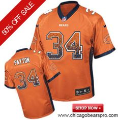 $129.99 Men's Nike Chicago Bears #34 Walter Payton Elite NFL Drift Fashion Orange Jersey