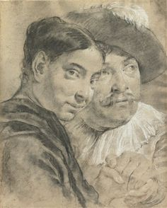 Attributed to Giovanni Battista Piazzetta (Italian, 1682–1754) . STUDY OF A MAN AND A WOMAN, THE MAN WEARING A PLUMED HAT, black and white chalk and stumping on buff paper, 40.8 x 32.8 cm. (16.1 x 12.9 in.)