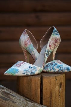 Floral wedding shoes - bright d'Orsay heels for bride  {BHP Imaging}